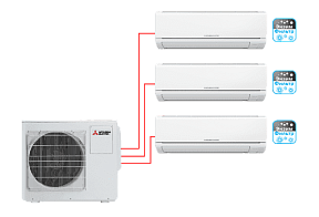 Мульти сплит-система Mitsubishi Electric MSZ-DM25VA*3 / MXZ-3DM50VA по цене 136 291 руб.
